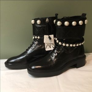 NWT Zara Low Heel Ankle Boots With Faux Pearls